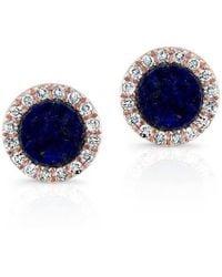Anne Sisteron - 14kt Rose Gold Lapis Lazuli Diamond Round Stud Earrings - Lyst