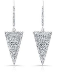 Anne Sisteron | 14kt White Gold Diamond Triangle Earrings | Lyst