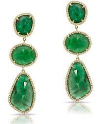 Anne Sisteron - 14kt Yellow Gold Emerald Diamond Organic Triple Drop Earrings - Lyst