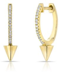 Anne Sisteron - 14kt Yellow Gold Diamond Spike Nia Huggie Earrings - Lyst