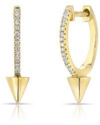 Anne Sisteron | 14kt Yellow Gold Diamond Spike Nia Huggie Earrings | Lyst