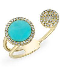 Anne Sisteron - 14kt Yellow Gold Diamond Turquoise Disc Nikki Ring - Lyst