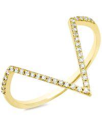 Anne Sisteron - 14kt Yellow Gold Diamond Bars Chain Ring - Lyst