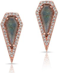 Anne Sisteron - 14kt Rose Gold Labradorite Diamond Shield Earrings - Lyst
