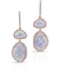 Anne Sisteron - 14kt Rose Gold Labradorite Diamond Splendor Earrings - Lyst