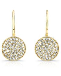 Anne Sisteron - 14kt Yellow Gold Diamond Disc Earrings - Lyst