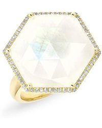 Anne Sisteron - 14kt Yellow Gold Moonstone Diamond Hexagon Cocktail Ring - Lyst