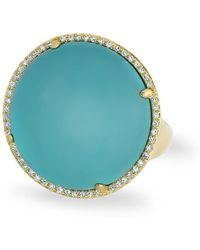 Anne Sisteron - 14kt White Gold Diamond Turquoise Laguna Triplet Cushion Cut Cocktail Ring - Lyst
