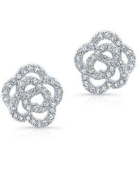 Anne Sisteron - 14kt White Gold Diamond Camellia Flower Stud Earrings - Lyst