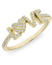 Anne Sisteron - 14kt Yellow Gold Diamond Love Heart Ring - Lyst
