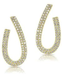 Anne Sisteron | 14kt Yellow Gold Diamond Curve Earrings | Lyst