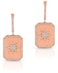 Anne Sisteron - 14kt Rose Gold Diamond Star Charmed Earrings - Lyst
