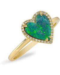 Anne Sisteron - 14kt Yellow Gold Opal Diamond Heart Ring - Lyst