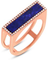 Anne Sisteron - 14kt Rose Gold Lapis Lazuli Diamond Bar Ring - Lyst
