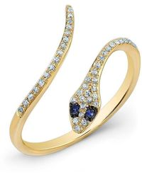 Anne Sisteron - 14kt Rose Gold Diamond Slytherin Ring With Blue Sapphire Eyes - Lyst