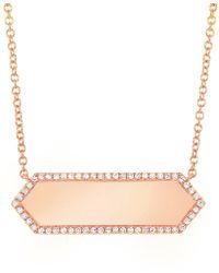 Anne Sisteron - 14kt Rose Gold Diamond Rimmed Bar Necklace - Lyst