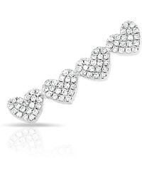 Anne Sisteron - 14kt White Gold Diamond Row Of Hearts Climber - Lyst