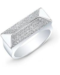 Anne Sisteron - 14kt White Gold Diamond Pyramid Bar Ring - Lyst