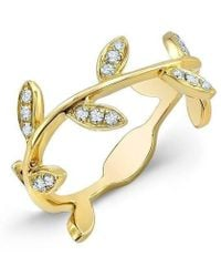 Anne Sisteron | 14kt Yellow Gold Diamond Leaf Knuckle Ring | Lyst