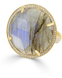Anne Sisteron - 14kt Yellow Gold Labradorite Diamond Round Cocktail Ring - Lyst