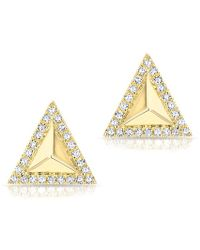 Anne Sisteron - 14kt Yellow Gold Diamond Triangle Pyramid Stud Earrings - Lyst