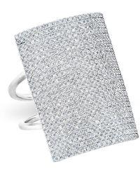 Anne Sisteron - 14kt White Gold Diamond Rectangle Armor Ring - Lyst