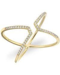 Anne Sisteron - 14kt Yellow Gold Diamond Open X Ring - Lyst