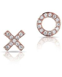Anne Sisteron - 14kt Rose Gold Diamond Mini Xo Stud Earrings - Lyst