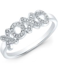 Anne Sisteron - 14kt White Gold Diamond Xoxo Ring - Lyst