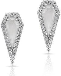 Anne Sisteron - 14kt White Gold Moonstone Diamond Shield Earrings - Lyst