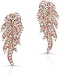 Anne Sisteron - 14kt Rose Gold Diamond Wing Stud Earrings - Lyst