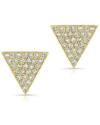 Anne Sisteron - 14kt Yellow Gold Diamond Large Triangle Emma Stud Earrings - Lyst