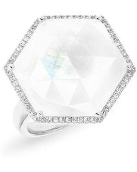 Anne Sisteron - 14kt White Gold Moonstone Diamond Hexagon Cocktail Ring - Lyst