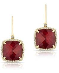Anne Sisteron - 14kt Yellow Gold Ruby Mini Cushion Diamond Earrings - Lyst