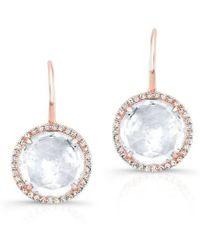 Anne Sisteron - 14kt Rose Gold White Topaz Diamond Round Earrings - Lyst