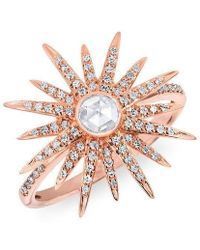 Anne Sisteron - 14kt Rose Gold Diamond Sunburst Ring - Lyst