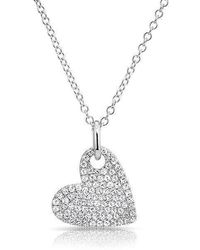 Anne Sisteron | 14kt White Gold Hanging Heart Diamond Necklace | Lyst