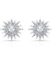 Anne Sisteron - 14kt White Gold Diamond Vintage Style Starburst Stud Earrings - Lyst