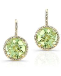 Anne Sisteron - 14kt Yellow Gold Green Amethyst Diamond Round Earrings - Lyst