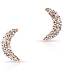 Anne Sisteron - 14kt Rose Gold Diamond Crescent Moon Stud Earrings - Lyst