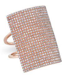 Anne Sisteron - 14kt Rose Gold Diamond Rectangle Armor Ring - Lyst