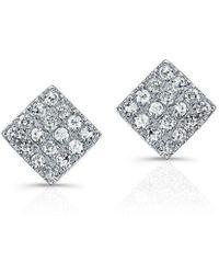 Anne Sisteron - 14kt White Gold Diamond Mini Square Stud Earrings - Lyst