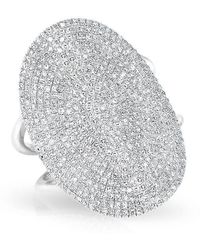 Anne Sisteron - 14kt White Gold Diamond Oval Armor Ring - Lyst