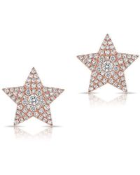 Anne Sisteron - 14kt Rose Gold Diamond Star Stud Earrings - Lyst