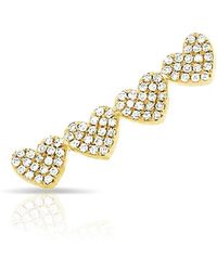 Anne Sisteron - 14kt Yellow Gold Diamond Row Of Hearts Climber - Lyst