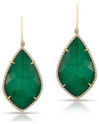 Anne Sisteron | 14kt Yellow Gold Emerald Diamond Large Leaf Earrings | Lyst