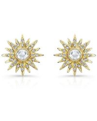 Anne Sisteron - 14kt Yellow Gold Diamond Vintage Style Starburst Stud Earrings - Lyst