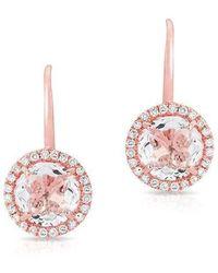 Anne Sisteron - 14kt Rose Gold Round White Topaz Diamond Earrings - Lyst