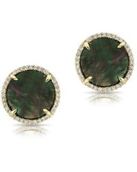 Anne Sisteron - 14kt Yellow Gold Black Mother Of Pearl Diamond Disc Stud - Lyst
