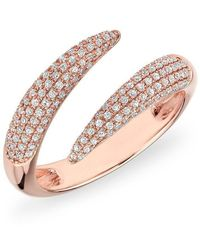 Anne Sisteron - 14kt Rose Gold Diamond Horn Embrace Ring - Lyst